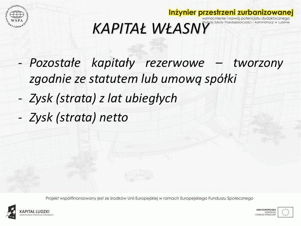 KAPITAŁ WŁASNY -Pozostałe kapitały rezerwowe – tworzony zgodnie ze statutem lub umową spółki -Zysk (strata) z lat ubiegłych -Zysk (strata) netto