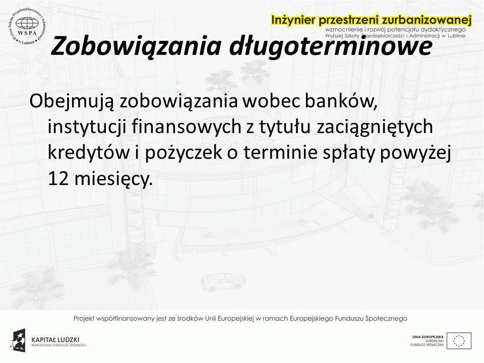 Zobowiązania długoterminowe Obejmują zobowiązania wobec banków, instytucji finansowych z tytułu zaciągniętych kredytów i pożyczek o terminie spłaty po