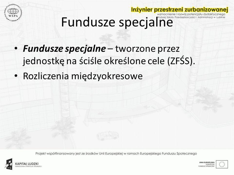 Fundusze specjalne Fundusze specjalne – tworzone przez jednostkę na ściśle określone cele (ZFŚS). Rozliczenia międzyokresowe