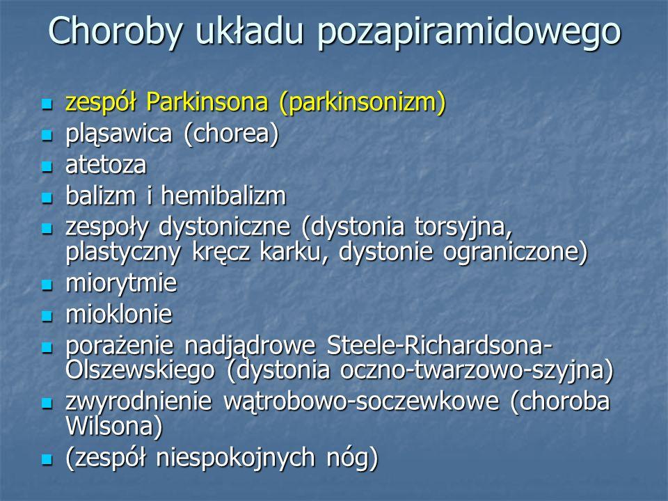 Choroby układu pozapiramidowego zespół Parkinsona (parkinsonizm) zespół Parkinsona (parkinsonizm) pląsawica (chorea) pląsawica (chorea) atetoza atetoz