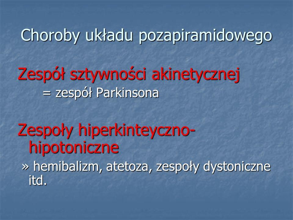 Choroby układu pozapiramidowego Zespół sztywności akinetycznej = zespół Parkinsona = zespół Parkinsona Zespoły hiperkinteyczno- hipotoniczne » hemibal