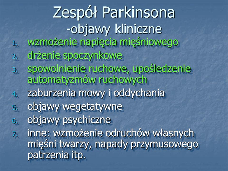 Zespół Parkinsona -objawy kliniczne 1. wzmożenie napięcia mięśniowego 2. drżenie spoczynkowe 3. spowolnienie ruchowe, upośledzenie automatyzmów ruchow