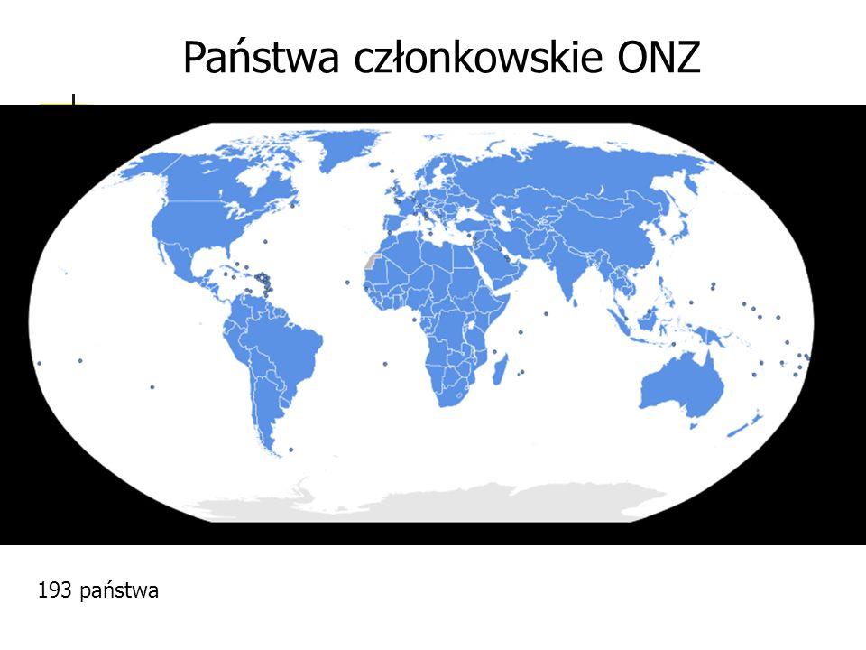 Państwa członkowskie ONZ 193 państwa