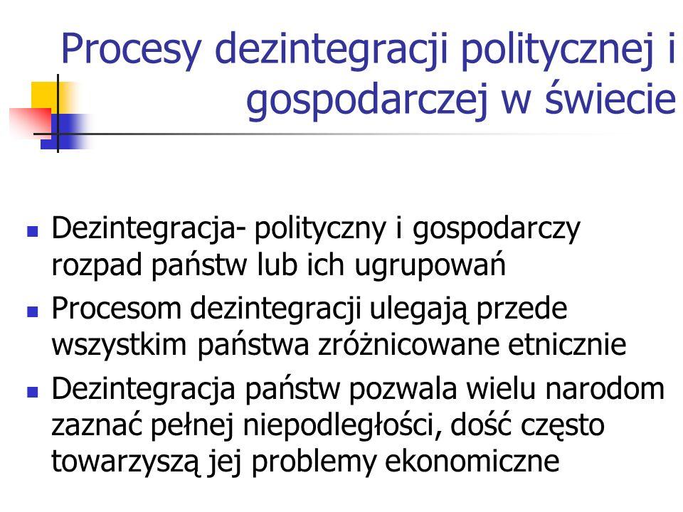 Procesy dezintegracji politycznej i gospodarczej w świecie Dezintegracja- polityczny i gospodarczy rozpad państw lub ich ugrupowań Procesom dezintegra