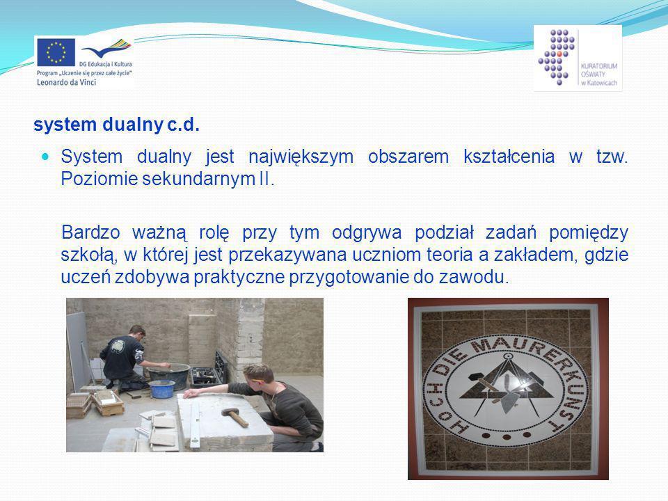 system dualny c.d. System dualny jest największym obszarem kształcenia w tzw. Poziomie sekundarnym II. Bardzo ważną rolę przy tym odgrywa podział zada