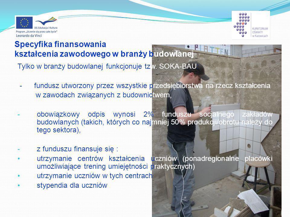 Specyfika finansowania kształcenia zawodowego w branży budowlanej Tylko w branży budowlanej funkcjonuje tzw. SOKA-BAU: - fundusz utworzony przez wszys