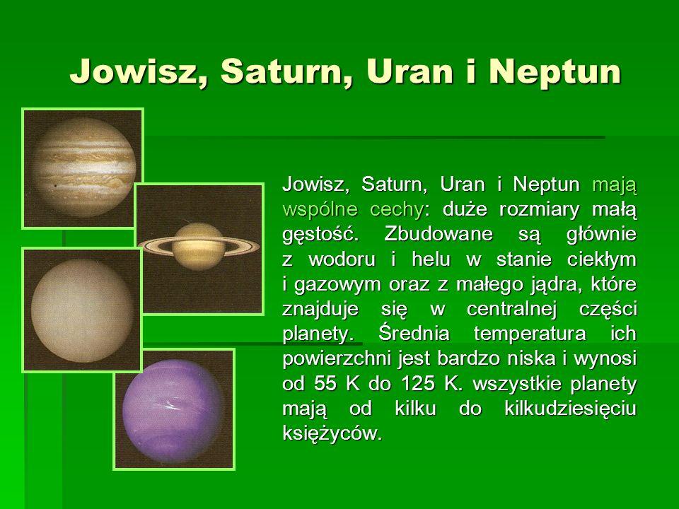 Jowisz, Saturn, Uran i Neptun Jowisz, Saturn, Uran i Neptun mają wspólne cechy: duże rozmiary małą gęstość. Zbudowane są głównie z wodoru i helu w sta