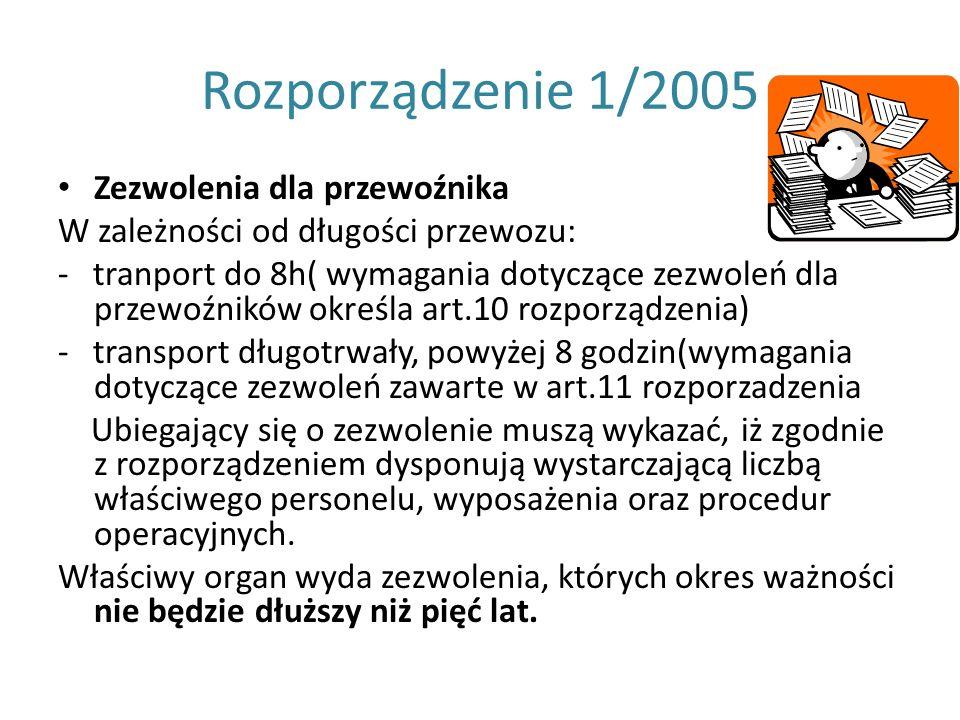 Rozporządzenie 1/2005 Zezwolenia dla przewoźnika W zależności od długości przewozu: - tranport do 8h( wymagania dotyczące zezwoleń dla przewoźników ok
