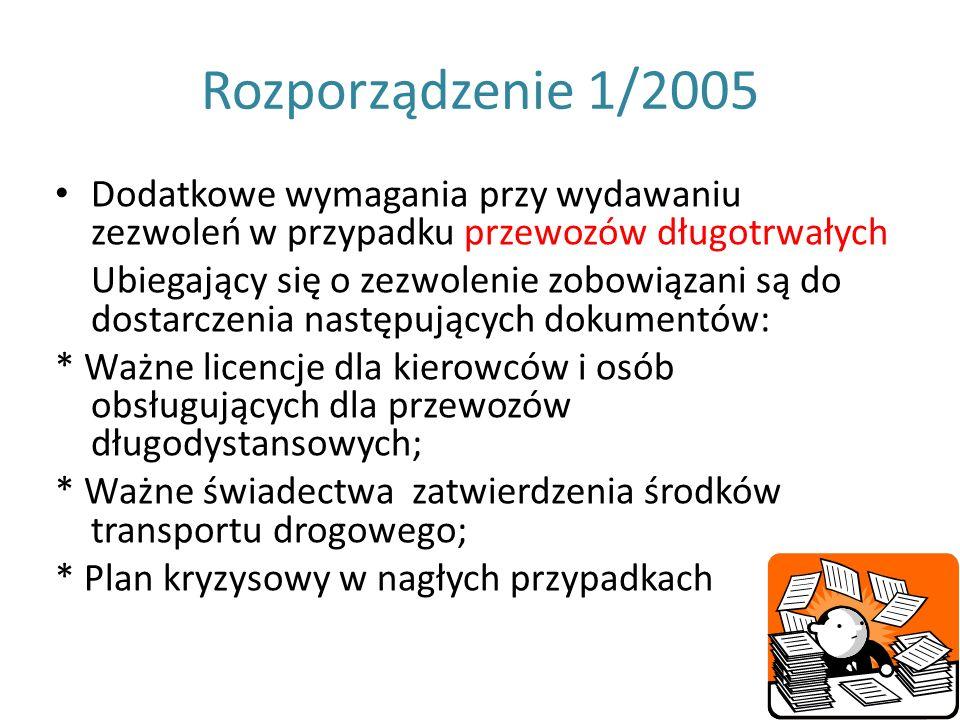Rozporządzenie 1/2005 Dodatkowe wymagania przy wydawaniu zezwoleń w przypadku przewozów długotrwałych Ubiegający się o zezwolenie zobowiązani są do do