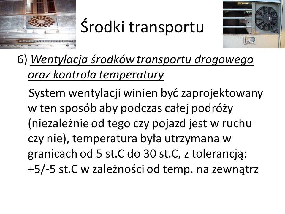 Środki transportu 6) Wentylacja środków transportu drogowego oraz kontrola temperatury System wentylacji winien być zaprojektowany w ten sposób aby po