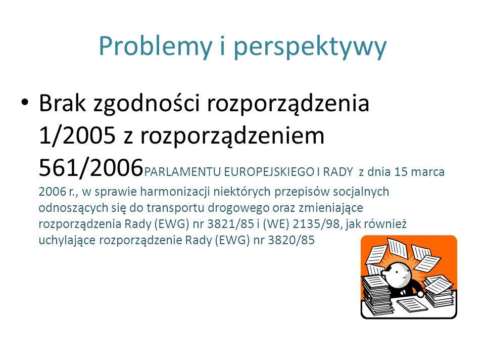 Problemy i perspektywy Brak zgodności rozporządzenia 1/2005 z rozporządzeniem 561/2006 PARLAMENTU EUROPEJSKIEGO I RADY z dnia 15 marca 2006 r., w spra