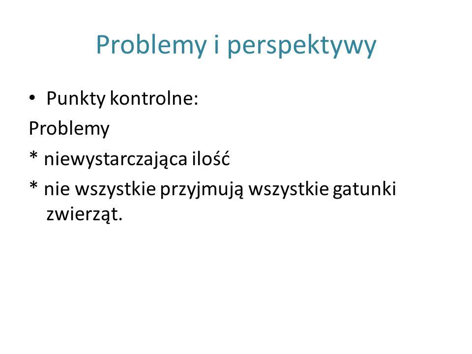 Problemy i perspektywy Punkty kontrolne: Problemy * niewystarczająca ilość * nie wszystkie przyjmują wszystkie gatunki zwierząt.