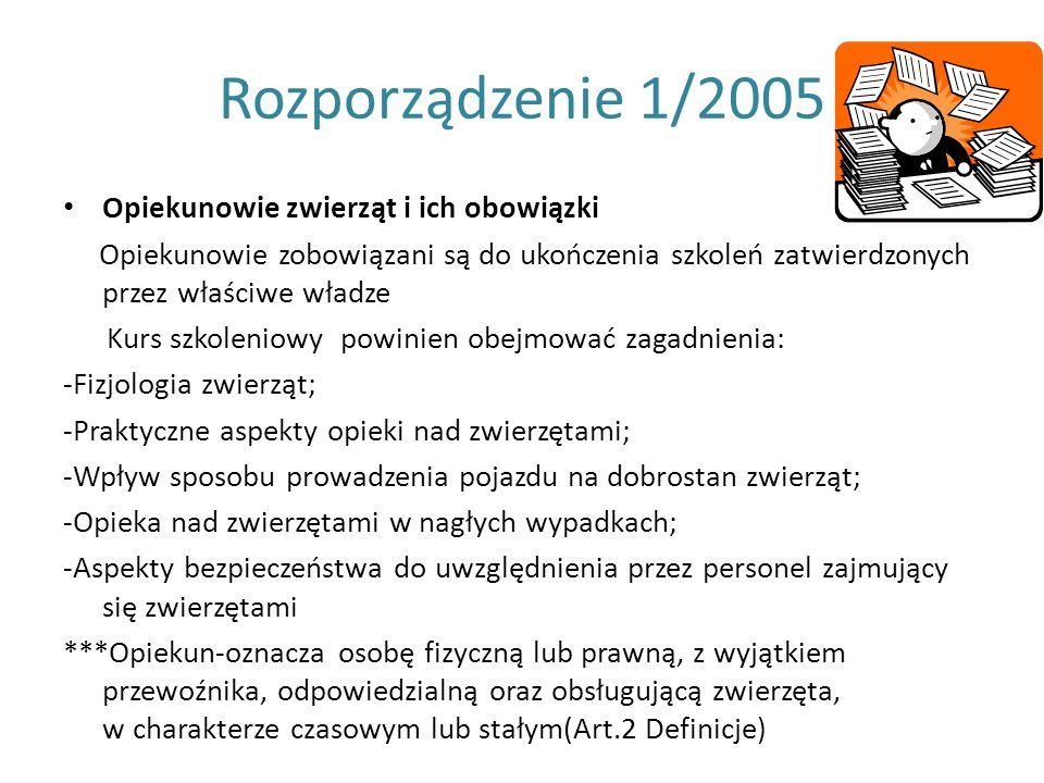 Rozporządzenie 1/2005 Opiekunowie zwierząt i ich obowiązki Opiekunowie zobowiązani są do ukończenia szkoleń zatwierdzonych przez właściwe władze Kurs