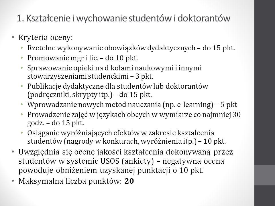 1. Kształcenie i wychowanie studentów i doktorantów Kryteria oceny: Rzetelne wykonywanie obowiązków dydaktycznych – do 15 pkt. Promowanie mgr i lic. –