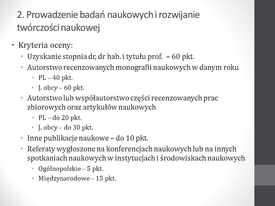 Wyróżnienia i nagrody naukowe: Ogólnopolskie – 10 pkt.
