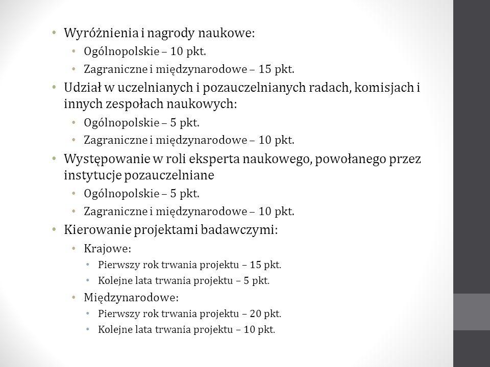 Wyróżnienia i nagrody naukowe: Ogólnopolskie – 10 pkt. Zagraniczne i międzynarodowe – 15 pkt. Udział w uczelnianych i pozauczelnianych radach, komisja