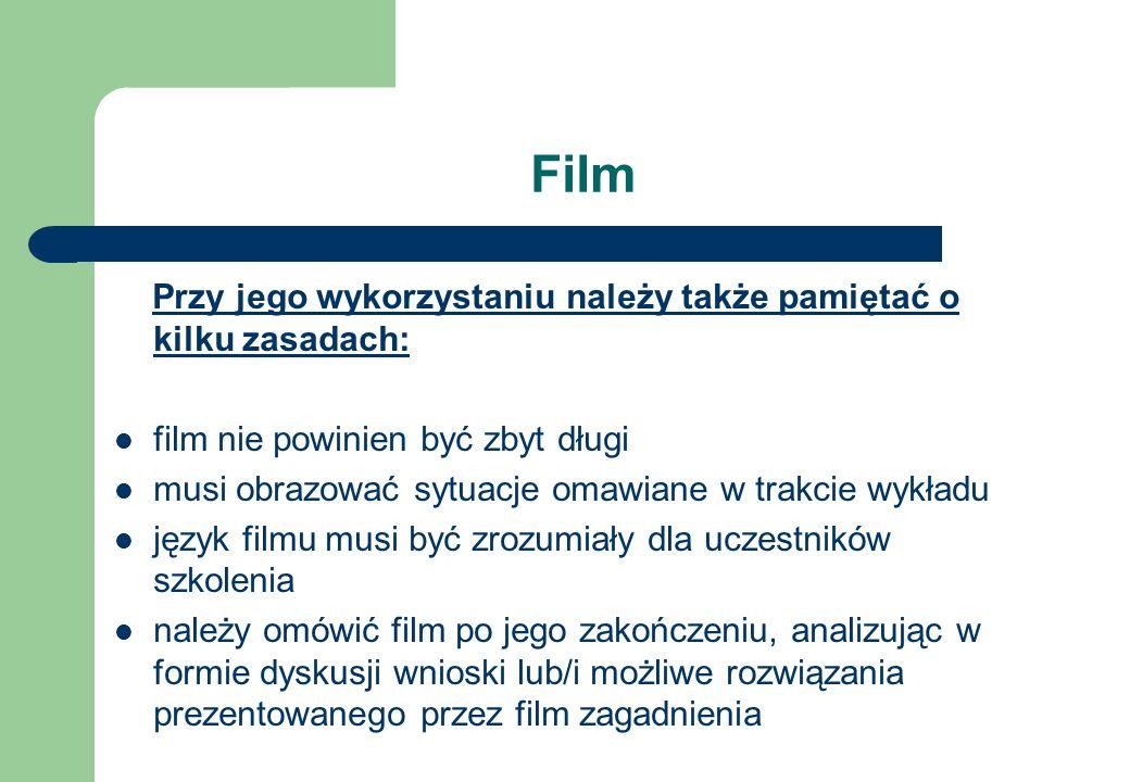 Film Przy jego wykorzystaniu należy także pamiętać o kilku zasadach: film nie powinien być zbyt długi musi obrazować sytuacje omawiane w trakcie wykła