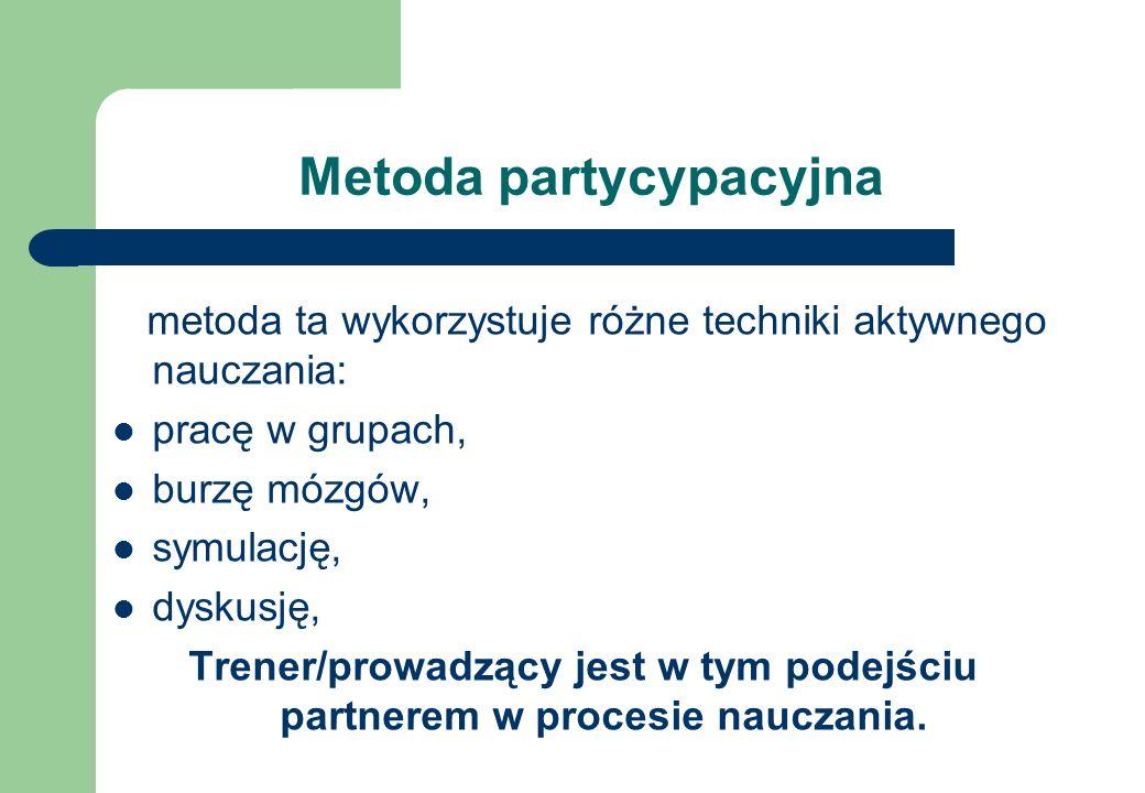 Metoda partycypacyjna metoda ta wykorzystuje różne techniki aktywnego nauczania: pracę w grupach, burzę mózgów, symulację, dyskusję, Trener/prowadzący