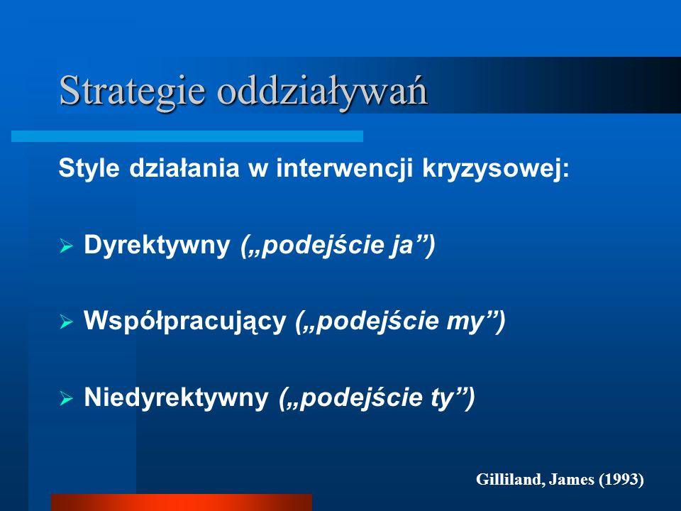 Strategie oddziaływań Style działania w interwencji kryzysowej: Dyrektywny (podejście ja) Współpracujący (podejście my) Niedyrektywny (podejście ty) G
