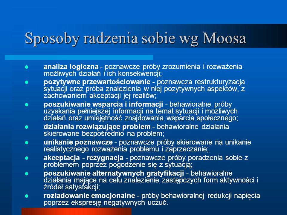 Sposoby radzenia sobie wg Moosa analiza logiczna - poznawcze próby zrozumienia i rozważenia możliwych działań i ich konsekwencji; pozytywne przewartoś
