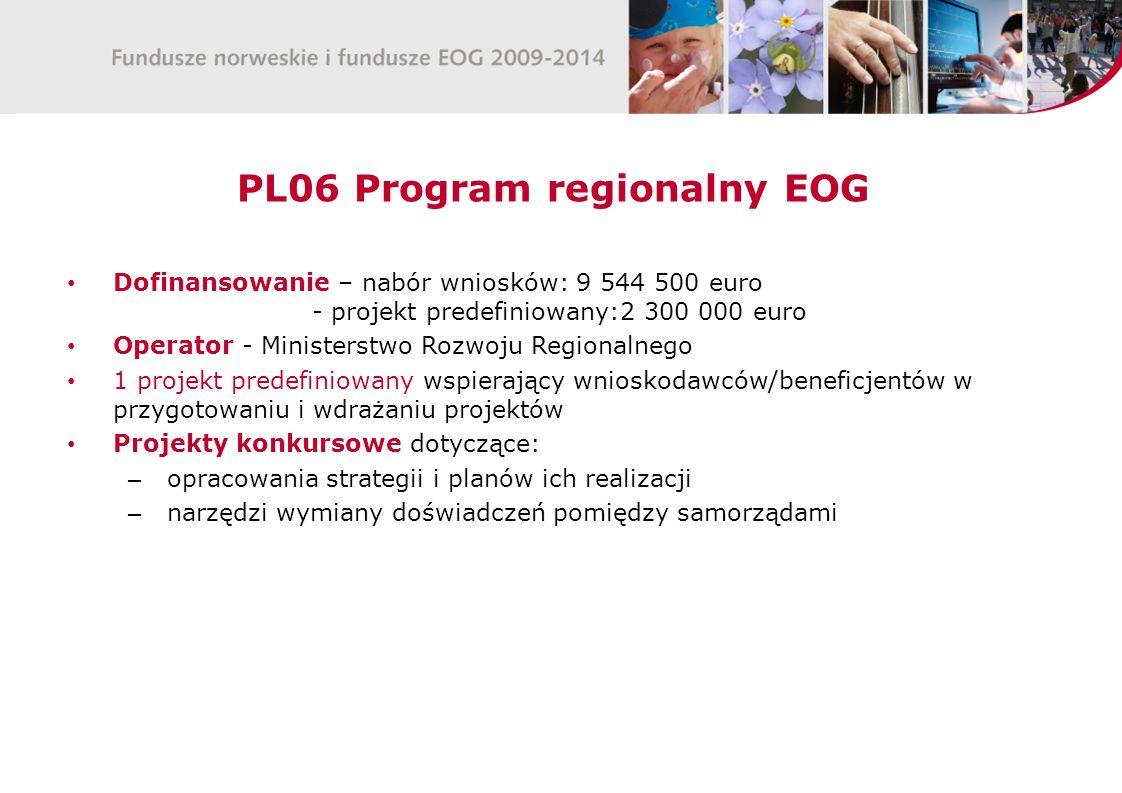 PL06 Program regionalny EOG Dofinansowanie – nabór wniosków: 9 544 500 euro - projekt predefiniowany:2 300 000 euro Operator - Ministerstwo Rozwoju Re