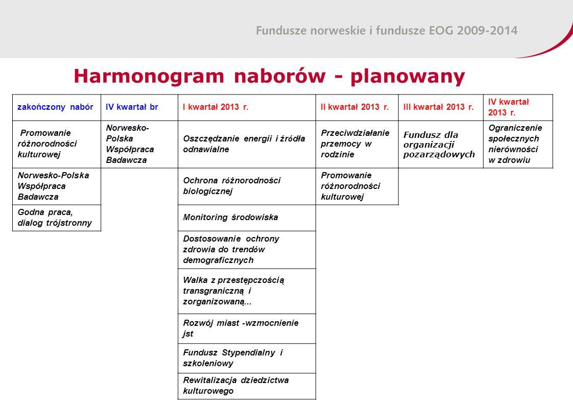 Harmonogram naborów - planowany zakończony nabórIV kwartał brI kwartał 2013 r.II kwartał 2013 r.III kwartał 2013 r. IV kwartał 2013 r. Promowanie różn