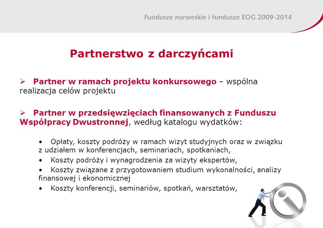 Partnerstwo z darczyńcami Partner w ramach projektu konkursowego – wspólna realizacja celów projektu Partner w przedsięwzięciach finansowanych z Fundu