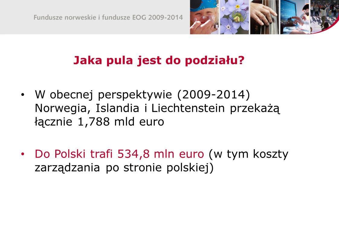 Jaka pula jest do podziału? W obecnej perspektywie (2009-2014) Norwegia, Islandia i Liechtenstein przekażą łącznie 1,788 mld euro Do Polski trafi 534,