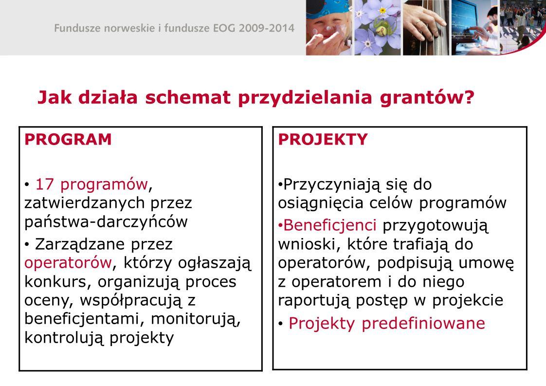 Jak działa schemat przydzielania grantów? PROGRAM 17 programów, zatwierdzanych przez państwa-darczyńców Zarządzane przez operatorów, którzy ogłaszają