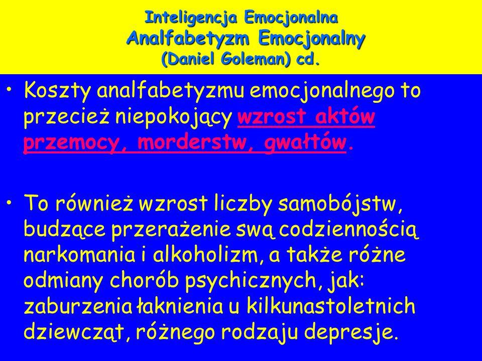 Inteligencja Emocjonalna Analfabetyzm Emocjonalny (Daniel Goleman) cd. Koszty analfabetyzmu emocjonalnego to przecież niepokojący wzrost aktów przemoc