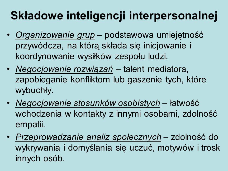 Składowe inteligencji interpersonalnej Organizowanie grup – podstawowa umiejętność przywódcza, na którą składa się inicjowanie i koordynowanie wysiłkó