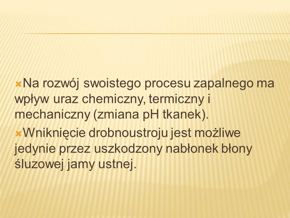 Na rozwój swoistego procesu zapalnego ma wpływ uraz chemiczny, termiczny i mechaniczny (zmiana pH tkanek). Wniknięcie drobnoustroju jest możliwe jedyn