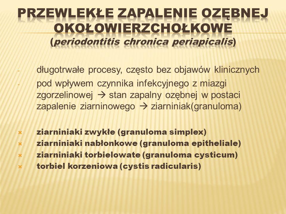 - długotrwałe procesy, często bez objawów klinicznych - pod wpływem czynnika infekcyjnego z miazgi zgorzelinowej stan zapalny ozębnej w postaci zapale