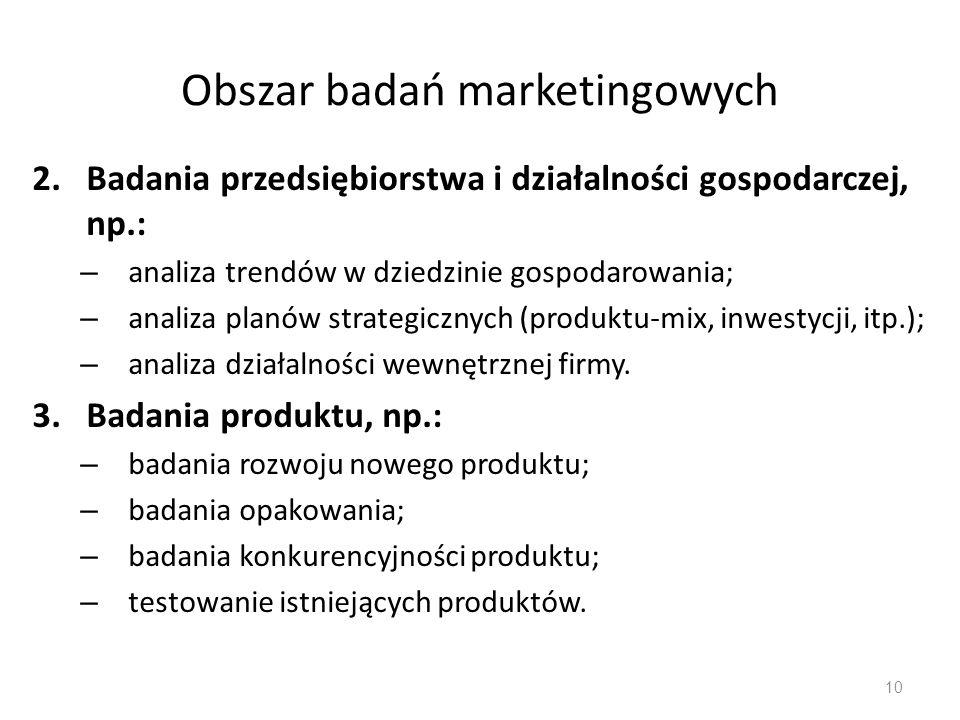 Obszar badań marketingowych 2.Badania przedsiębiorstwa i działalności gospodarczej, np.: – analiza trendów w dziedzinie gospodarowania; – analiza plan