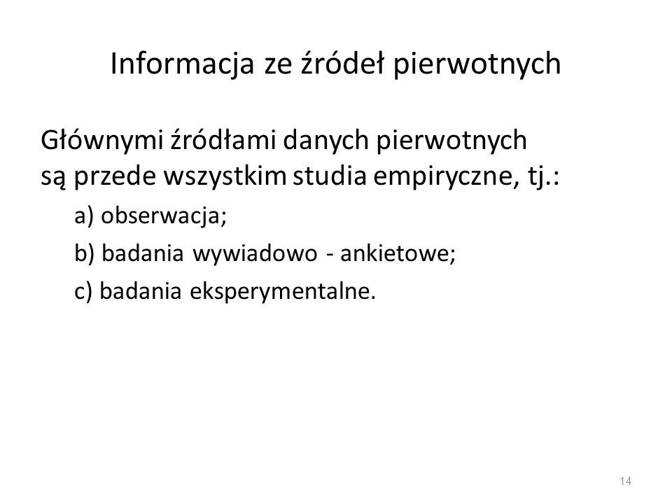 Informacja ze źródeł pierwotnych Głównymi źródłami danych pierwotnych są przede wszystkim studia empiryczne, tj.: a) obserwacja; b) badania wywiadowo