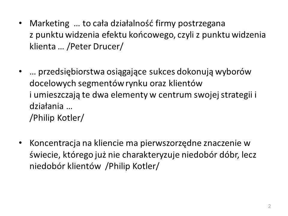 Marketing … to cała działalność firmy postrzegana z punktu widzenia efektu końcowego, czyli z punktu widzenia klienta … /Peter Drucer/ … przedsiębiors