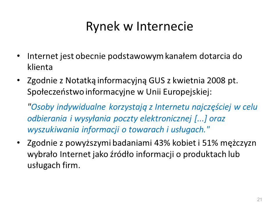 Rynek w Internecie Internet jest obecnie podstawowym kanałem dotarcia do klienta Zgodnie z Notatką informacyjną GUS z kwietnia 2008 pt. Społeczeństwo