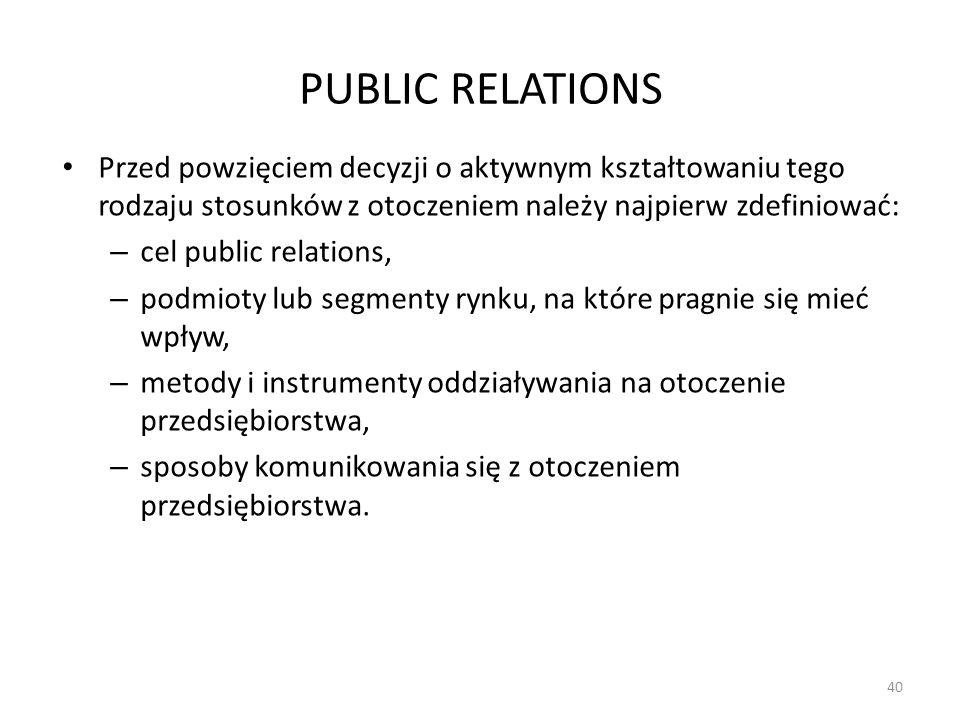 PUBLIC RELATIONS Przed powzięciem decyzji o aktywnym kształtowaniu tego rodzaju stosunków z otoczeniem należy najpierw zdefiniować: – cel public relat