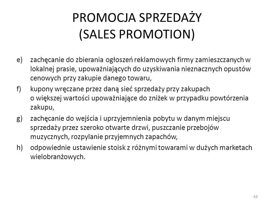 PROMOCJA SPRZEDAŻY (SALES PROMOTION) e)zachęcanie do zbierania ogłoszeń reklamowych firmy zamieszczanych w lokalnej prasie, upoważniających do uzyskiw