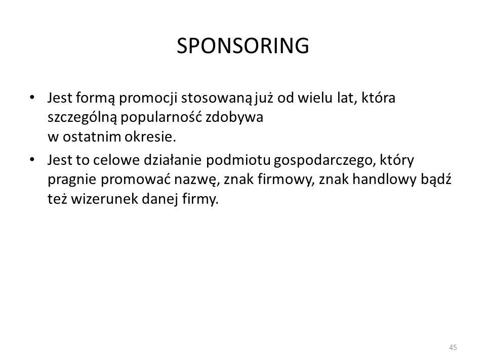 SPONSORING Jest formą promocji stosowaną już od wielu lat, która szczególną popularność zdobywa w ostatnim okresie. Jest to celowe działanie podmiotu