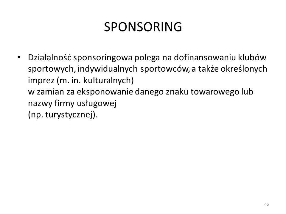 SPONSORING Działalność sponsoringowa polega na dofinansowaniu klubów sportowych, indywidualnych sportowców, a także określonych imprez (m. in. kultura