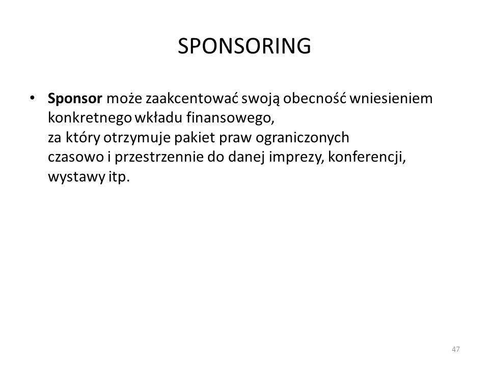 SPONSORING Sponsor może zaakcentować swoją obecność wniesieniem konkretnego wkładu finansowego, za który otrzymuje pakiet praw ograniczonych czasowo i