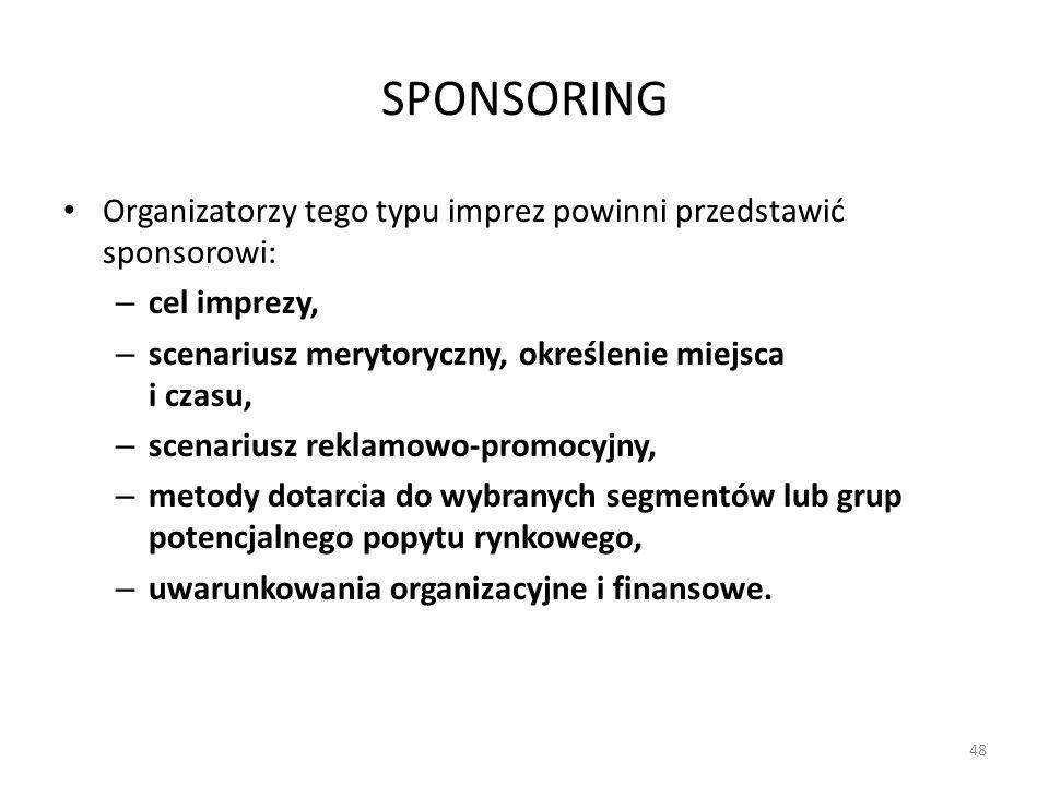 SPONSORING Organizatorzy tego typu imprez powinni przedstawić sponsorowi: – cel imprezy, – scenariusz merytoryczny, określenie miejsca i czasu, – scen