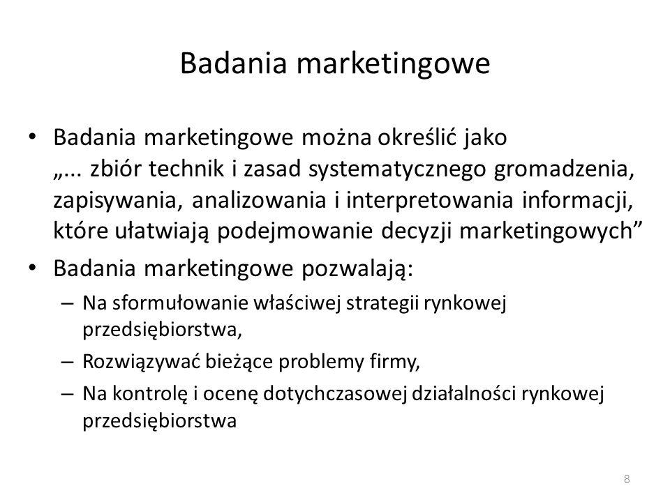 Obszar badań marketingowych 1.Badania rynku i sprzedaży, np.: – identyfikacja rynku; – badania postępowania konsumenta; – badania potencjału rynkowego; – testy rynkowe; – badania udziału rynkowego; – analiza udziału rynkowego; – analiza sprzedaży; – ustalenie kwot i obszarów sprzedaży.
