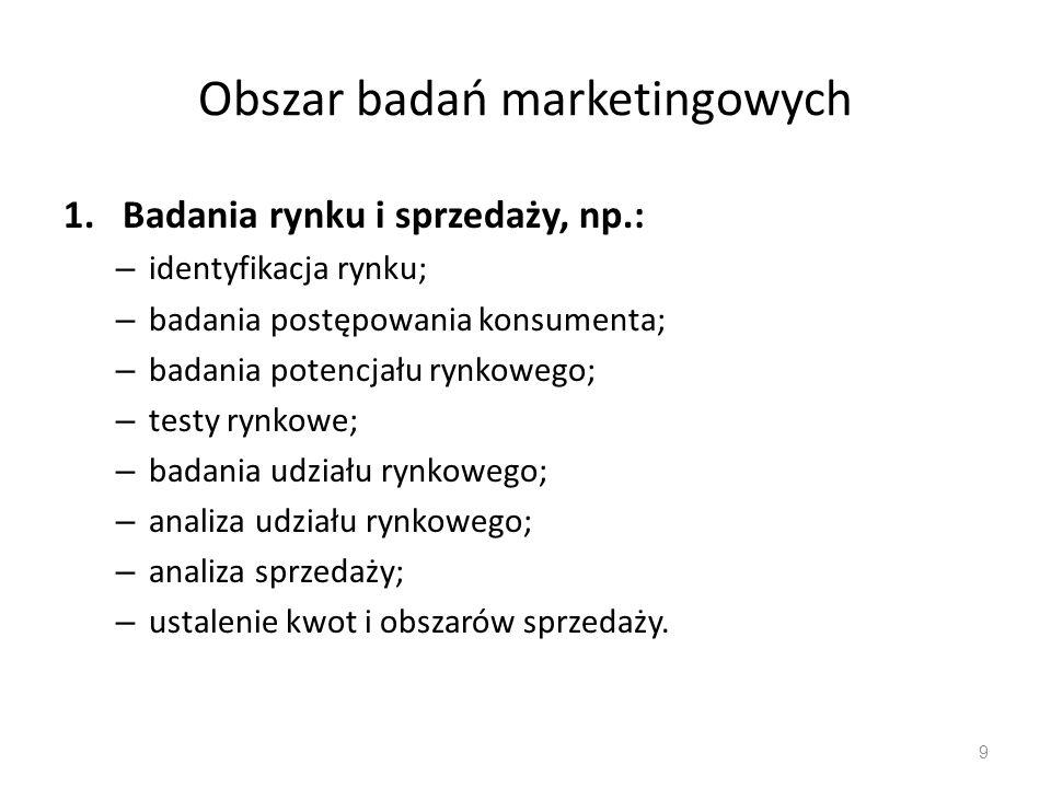 Obszar badań marketingowych 2.Badania przedsiębiorstwa i działalności gospodarczej, np.: – analiza trendów w dziedzinie gospodarowania; – analiza planów strategicznych (produktu-mix, inwestycji, itp.); – analiza działalności wewnętrznej firmy.