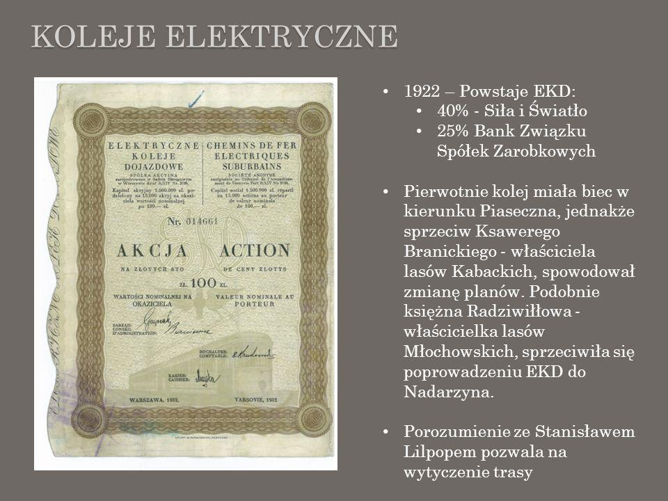 KOLEJE ELEKTRYCZNE 1922 – Powstaje EKD: 40% - Siła i Światło 25% Bank Związku Spółek Zarobkowych Pierwotnie kolej miała biec w kierunku Piaseczna, jed