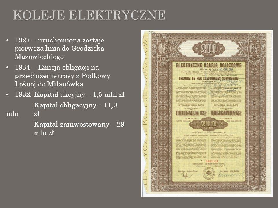 KOLEJE ELEKTRYCZNE 1927 – uruchomiona zostaje pierwsza linia do Grodziska Mazowieckiego 1934 – Emisja obligacji na przedłużenie trasy z Podkowy Leśnej