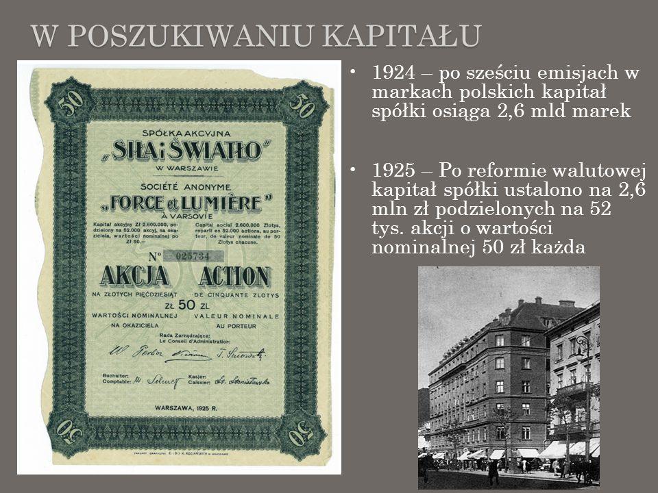 W POSZUKIWANIU KAPITAŁU 1924 – po sześciu emisjach w markach polskich kapitał spółki osiąga 2,6 mld marek 1925 – Po reformie walutowej kapitał spółki