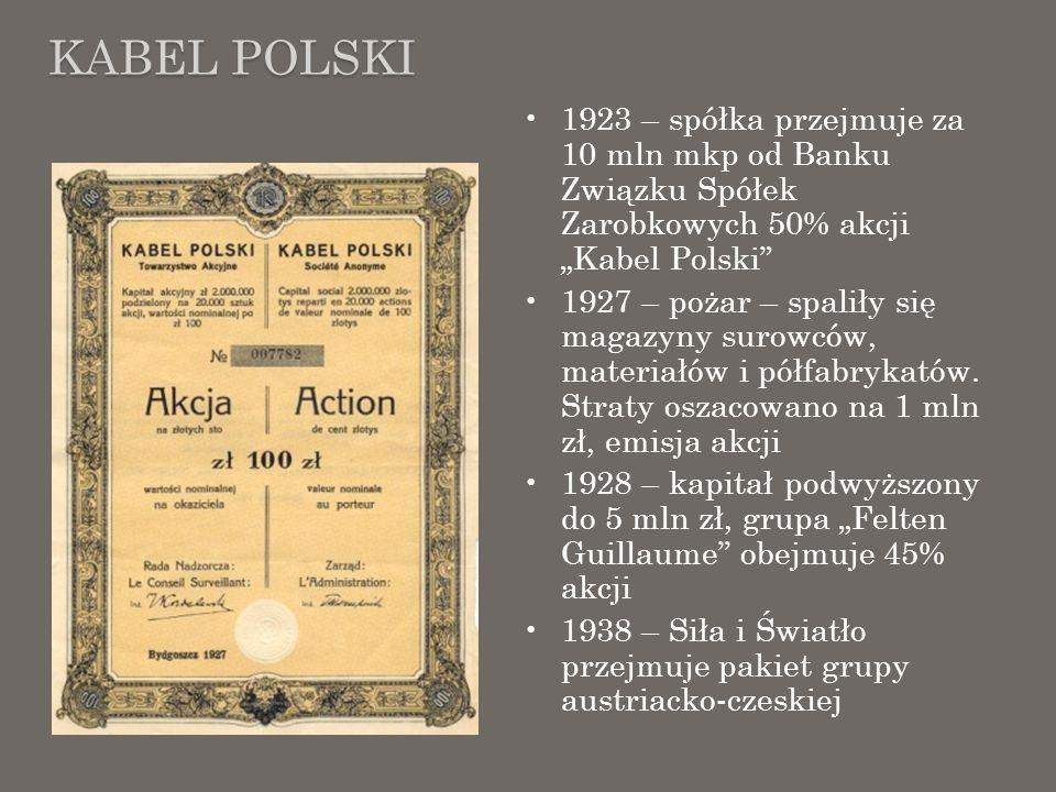 KABEL POLSKI 1923 – spółka przejmuje za 10 mln mkp od Banku Związku Spółek Zarobkowych 50% akcji Kabel Polski 1927 – pożar – spaliły się magazyny suro