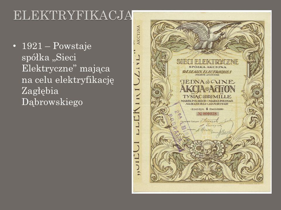 ELEKTRYFIKACJA 1921 – Powstaje spółka Sieci Elektryczne mająca na celu elektryfikację Zagłębia Dąbrowskiego